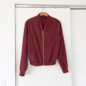 American Apparel Clay Brick Red Bomber Zip Jacket